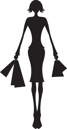 carry bag: woman black silhouette shopping on white background