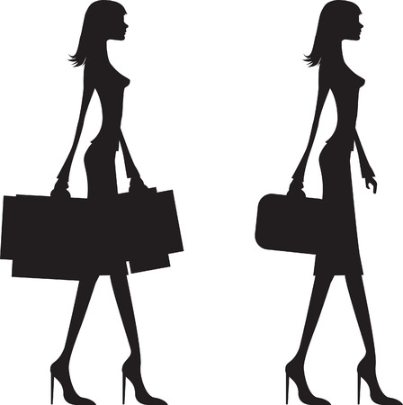 30s: woman shopping and business woman black silhouette,  Illustration