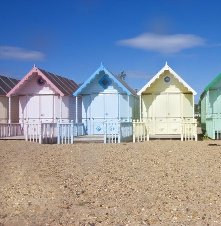 mersea: close up on mersea wooden beach huts Stock Photo