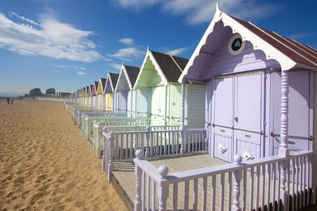 mersea: mersea beach huts and cloudscape in summer Stock Photo