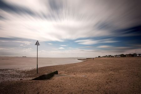 mersea: mersea sea and cloudscape long exposure in summer Stock Photo