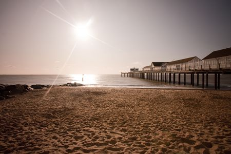 southwold: southwold beach and pier shot at dawn