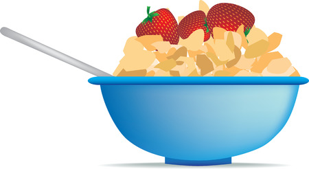 cornflakes: breakfast cereal of strawberry and cornflakes in bowl Illustration