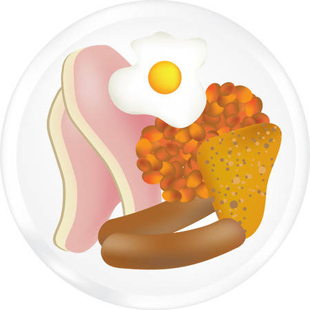 english breakfast: illustration of a typical full english breakfast