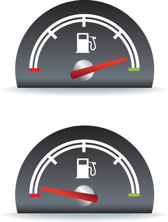 gauge: fuel gauge shown as full and empty illustration