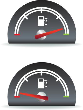 fuel gauge: fuel gauge shown as full and empty illustration