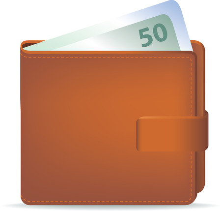 50 number: illustration of  wallet and cash with 50 number