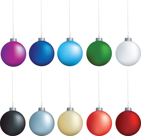 christmas decorations set of coloured baubles on white Stock Vector - 5565839