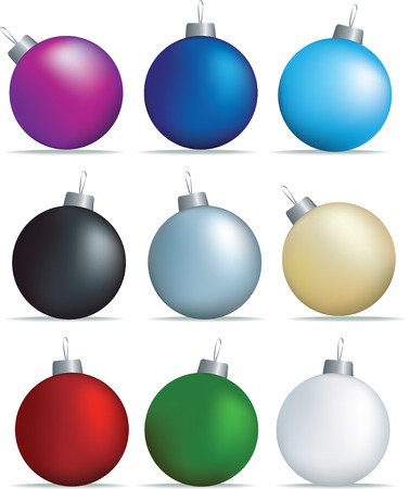 blue ball: christmas decorations set of coloured baubles on white Illustration
