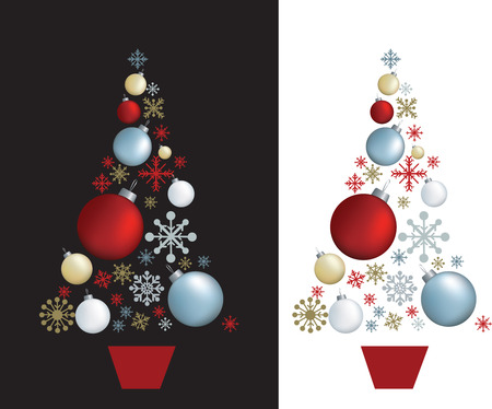 christmas decorations set designed in shape of a tree Stock Vector - 5565844