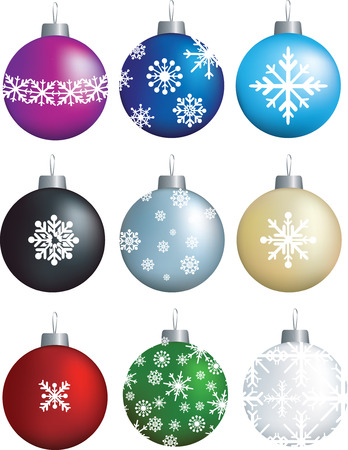 chriostmas snowflake decorations on brightly coloured baubles Stock Vector - 5565843