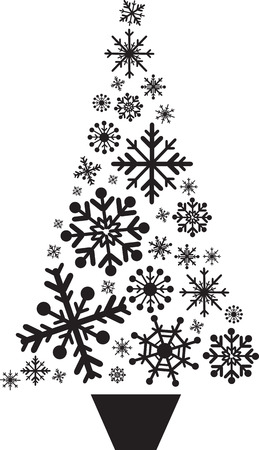 christmas tree set: christmas snowflakes set designed in shape of a tree Illustration