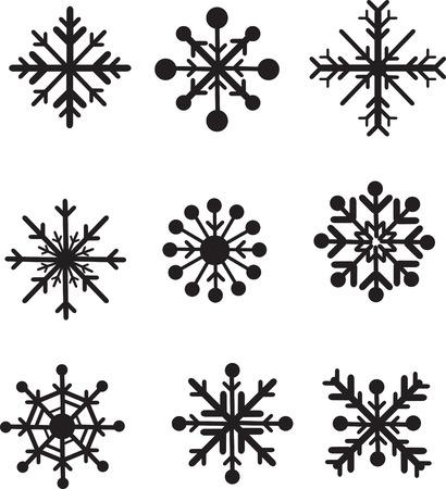 snowflakes set drawn up as black silhouettes