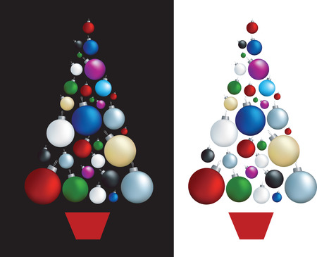 christmas decorations set designed in shape of a tree Vector