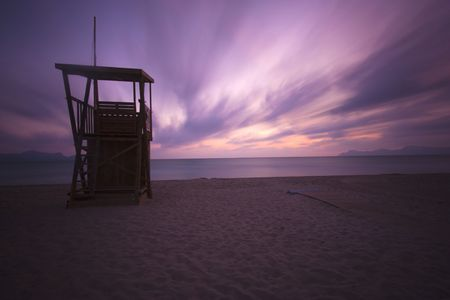 life saving: life saving hut on the beach in majorca Stock Photo