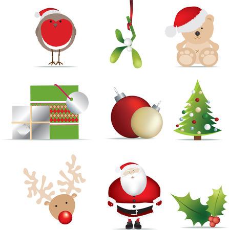 christmas robin: christmas set of detailed icon illustrations