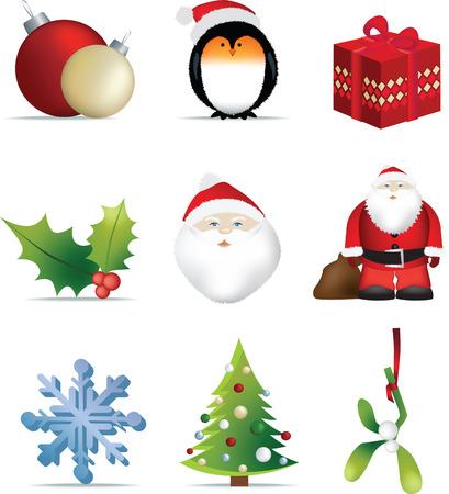 robin: christmas set of detailed icon vector illustrations Illustration