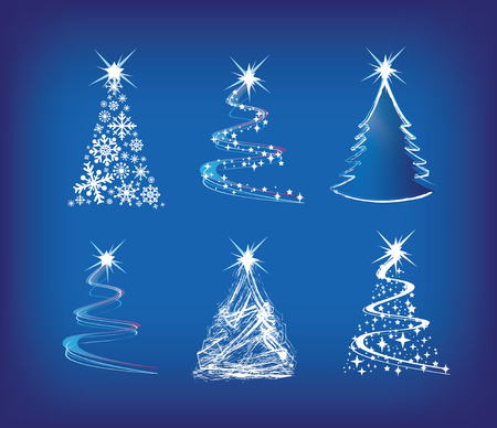christmas baubles of modern design: christmas trees modern illustration in a loose abstract style on blue Illustration