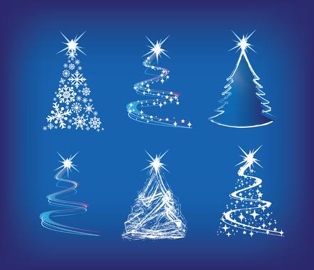 silhouette arbre hiver: illustration de moderne arbres de No�l dans un style abstrait l�che sur bleu