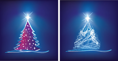 tree trimming: abstract christmas tree modern illustration in blue