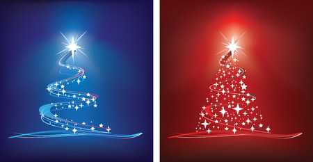 red and blue abstract style christmas trees Stock Vector - 5642407