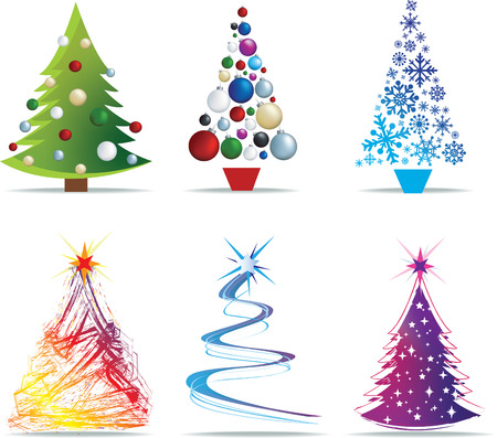 christmas baubles of modern design: christmas tree modern illustrations in a loose abstract style