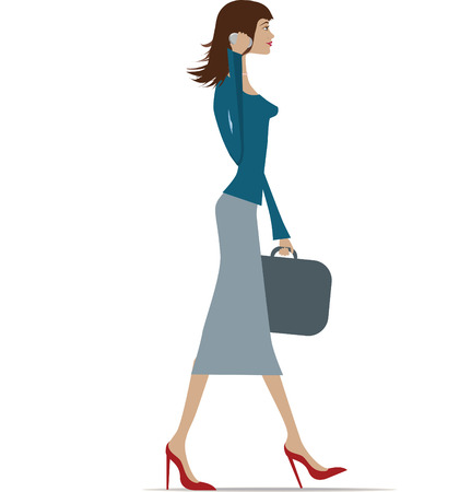 business woman phone: Illustration of a fashionable business woman in city