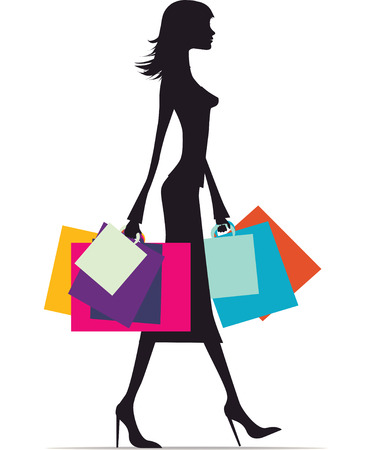 Ilustración de una mujer de moda con una gran cantidad de bolsas Ilustración de vector