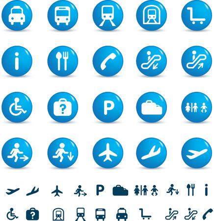 ba�o blanco: conjunto de ilustraci�n de varios iconos encontrado en tren y aeropuertos Vectores