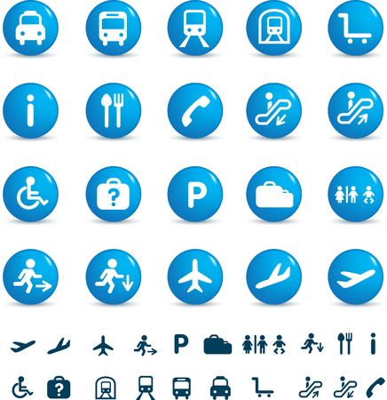 bus parking: illustration set of various icons found at train and airports
