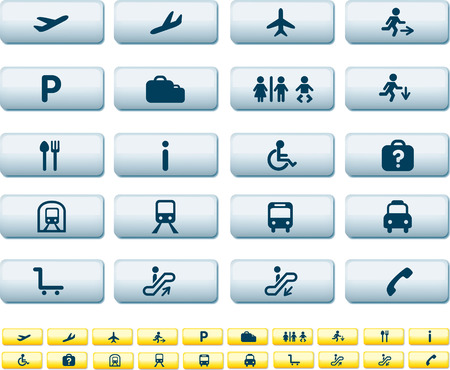 illustration set of various icons found at train and airports Stock Vector - 5659076
