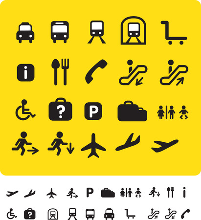 people travelling: illustration set of various icons found at train and airports