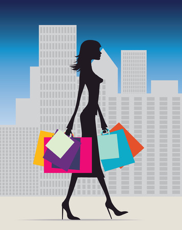 london cityscape: Illustration of a fashionable woman with lots of bags Illustration