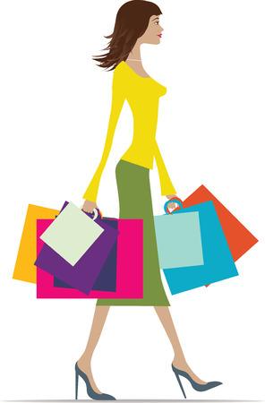 mujer feliz fondo blanco: Ilustraci�n de una mujer de moda con una gran cantidad de bolsas