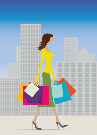 Illustration of a fashionable woman with lots of bags Vector