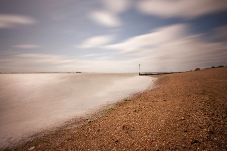 mersea: long exposure of the beach at mersea in essex