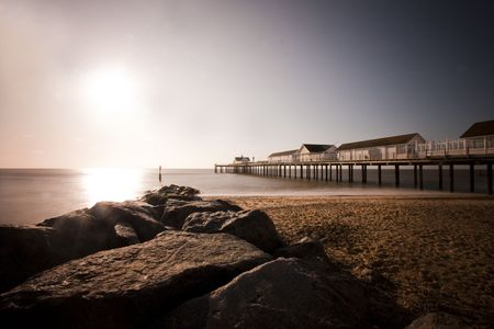 southwold: view of southwold pier at dawn, long exposure