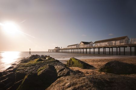 southwold: dawn over the sea at southwold pier