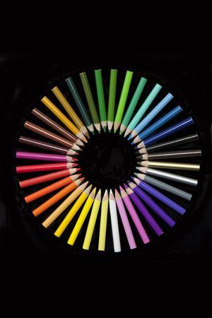 hues: set of pencils forming a colour wheel Stock Photo