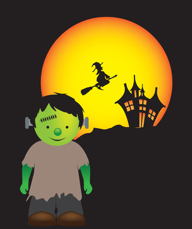 little boy dressed up as a cute frankenstein monster Vector