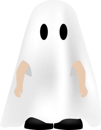 cute ghost: little boy dressed up as a cute ghost