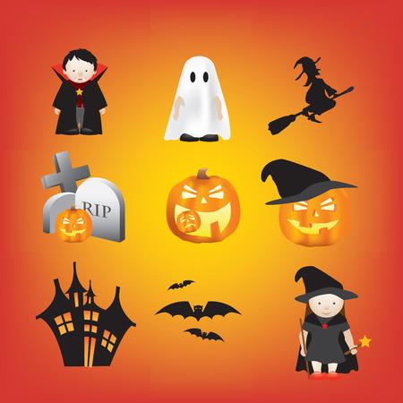 halloween illustration set of different cartoon elements Vector