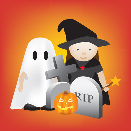 halloween scene with kids as ghosts and witches Vector