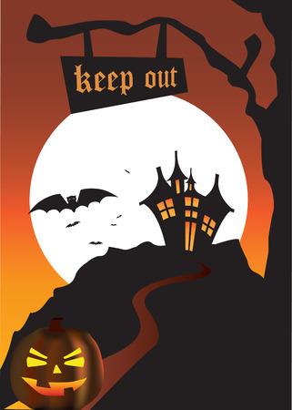 halloween scene of a pumpkin and a haunted house Vector