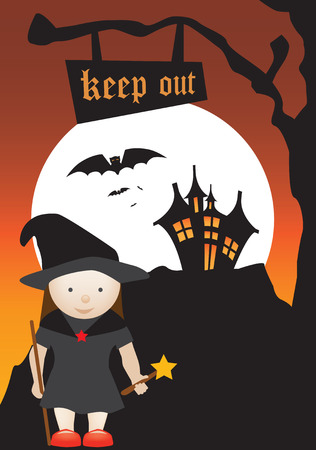 halloween scene of a witch and a haunted house Vector