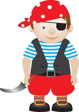 boy playing dress up as a pirate Vector