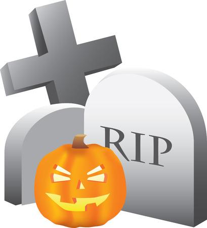 halloween scene of a pumpkin and a graveyard  Vector