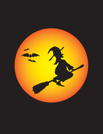 a wicked witch at halloween on broomstick Vector