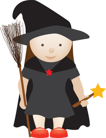 cute girl dressed up as a halloween witch character Vector