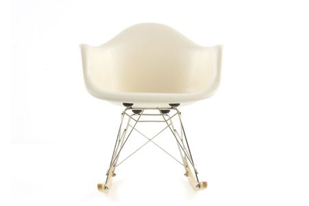 view from below: modern design classic eames rocking chair on white background